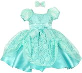 Shanil Inc. Baby Girls Mint Lace Ribbon Headband Special Occasion Christmas Dress 24M
