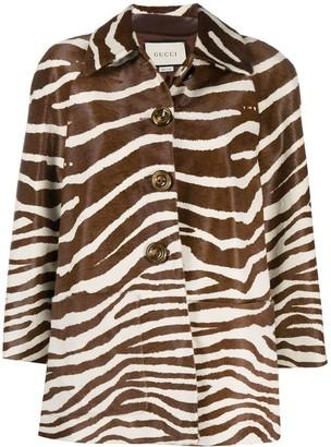 Gucci Zebra-Print Button-Up Jacket