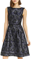 Oasis Jacquard Skater Dress, Blue/Multi
