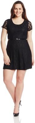 Star Vixen Women's Plus-Size Short Sleeve Lace Skater Dress
