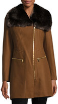 Via Spiga Asymmetric-Zip Coat with Faux-Fur-Collar, Cognac