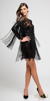 Terani Couture Long Sleeve Sequin Fringe Fitted Cocktail Dress