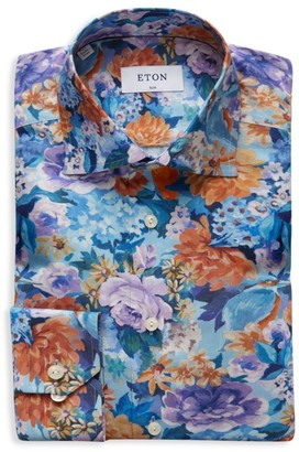 Eton Slim-Fit Hand Painted Floral Dress Shirt