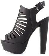 Charlotte Russe Laser Cut Slingback Platform Sandals