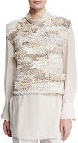 Brunello Cucinelli Jewel-Neck Sleeveless Cropped Sweater, Macadamia