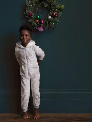 John Lewis & Partners Girls' Fleece Star Onesie, Grey