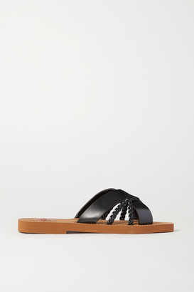 Chloé Woody Woven Leather Slides - Black