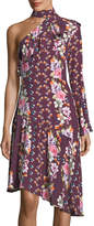 Parker Rine Floral-Printed One-Shoulder Silk Dress