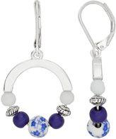 Dana Buchman Flower Bead Nickel Free Drop Hoop Earrings