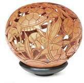 Hand Made Coconut Shell Sculpture, 'Turtle Harmony'