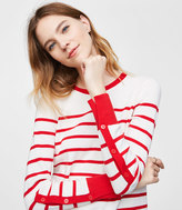 LOFT Petite Striped Button Sleeve Sweater