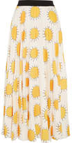 Christopher Kane Printed Crepe Midi Skirt - Yellow