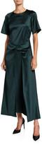 Rosetta Getty Satin Short-Sleeve Twisted-Front Dress