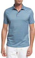 Ermenegildo Zegna Maze Chevron Cotton Polo Shirt, Teal Blue