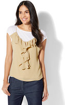 New York & Co. 7th Avenue - Ruffled Twofer Top