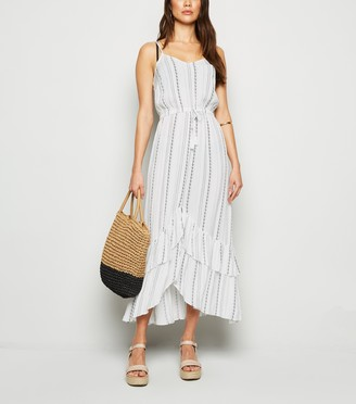 New Look Stripe Ruffle Dip Hem Midi Beach Dress