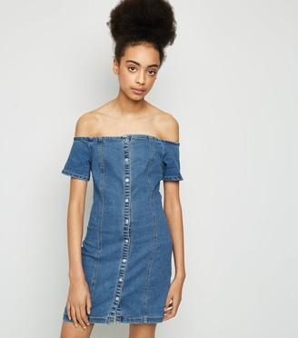 New Look Girls Denim Button Up Bardot Dress