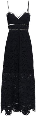 Zimmermann Jaya Wave Crochet-trimmed Broderie Anglaise Cotton Midi Dress