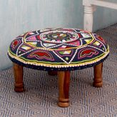 Novica Seesham Wood Cotton Rayon 'Rajasthan Galaxy' Foot Stool (India)