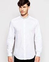 Antony Morato Grandad Shirt With Tipped Collar In Slim Fit - White