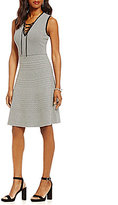 Gibson & Latimer Intarsia Knit Sleeveless Lace-Up Dress