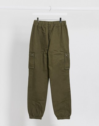 Brave Soul utility trousers with elasticated waist in khaki
