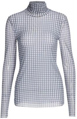 Ganni Printed Mesh Turtleneck Long-Sleeve Top