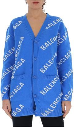 Balenciaga All Over Logo Cardigan