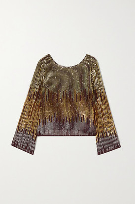 Rixo Bettina Sequined Chiffon Blouse