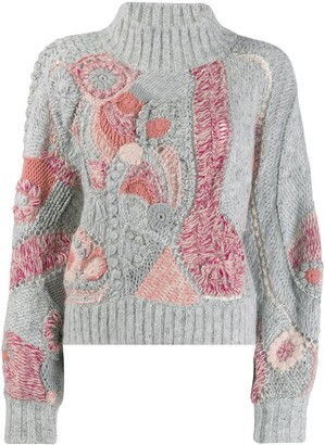 Alberta Ferretti contrast knit sweater
