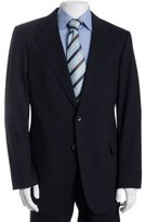 navy stretch wool 2-button suit with flat front trousers