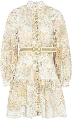 Zimmermann Amelie printed eyelet-embroidered linen dress