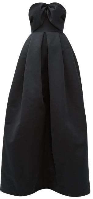 Rochas Bow-bodice Puffed Satin Gown - Black