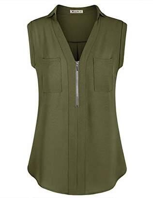 Moyabo Woman's Zipper Up Tank Top Split V Neck Sleeveless Shirts Loose Summer Work Blouse with Pockets