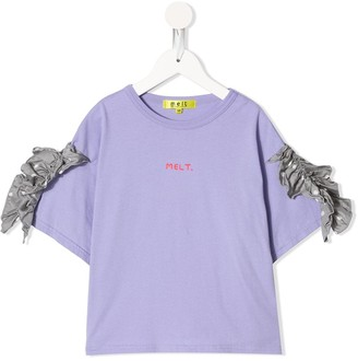Melt ruffle-trim logo T-shirt