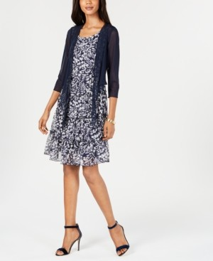 Connected Petite Printed Chiffon Dress & Jacket