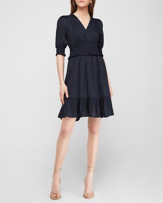 Express Tiered Smocked Puff Sleeve Fit And Flare Dress
