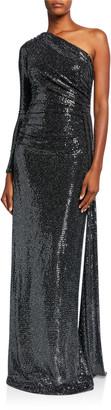 Rickie Freeman For Teri Jon Metallic One Shoulder Side Drape Sequin Column Gown
