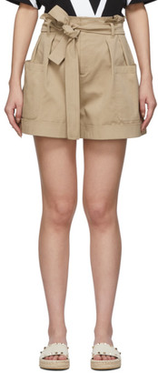 RED Valentino Tan Gathered Waist Shorts