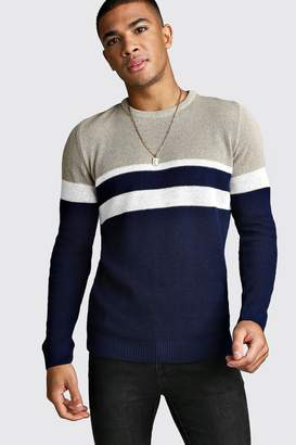 boohoo Muscle Fit Ribbed Colour Block Jumper