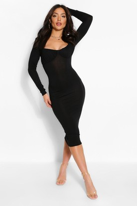 boohoo Square Neck Rouched Cup Detail Midi Dress