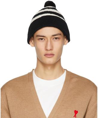 Ami Alexandre Mattiussi Black and White Cotton Crochet Beanie