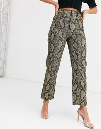 ASOS DESIGN Florence authentic straight leg jeans in yellow mono snake