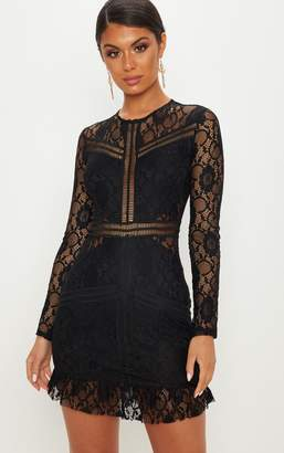 PrettyLittleThing Black Lace Ladder Detail Frill Hem Bodycon Dress