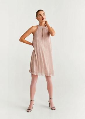 MANGO Metallic thread dress pink - 2 - Women