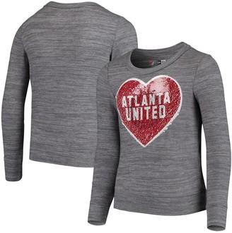 New Era Girls Youth 5th & Ocean by Heathered Gray Atlanta United FC Flip Sequin Pullover Sweatshirt