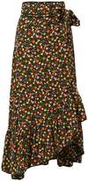 Ganni floral print maxi wrap skirt