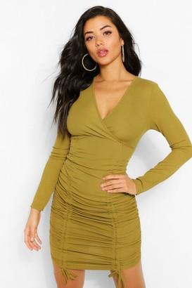 boohoo Rib Wrap Over Ruched Mini Dress
