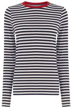 Warehouse Contrast Neck Stripe Top
