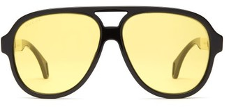 Gucci Aviator Acetate Glasses - Mens - Black